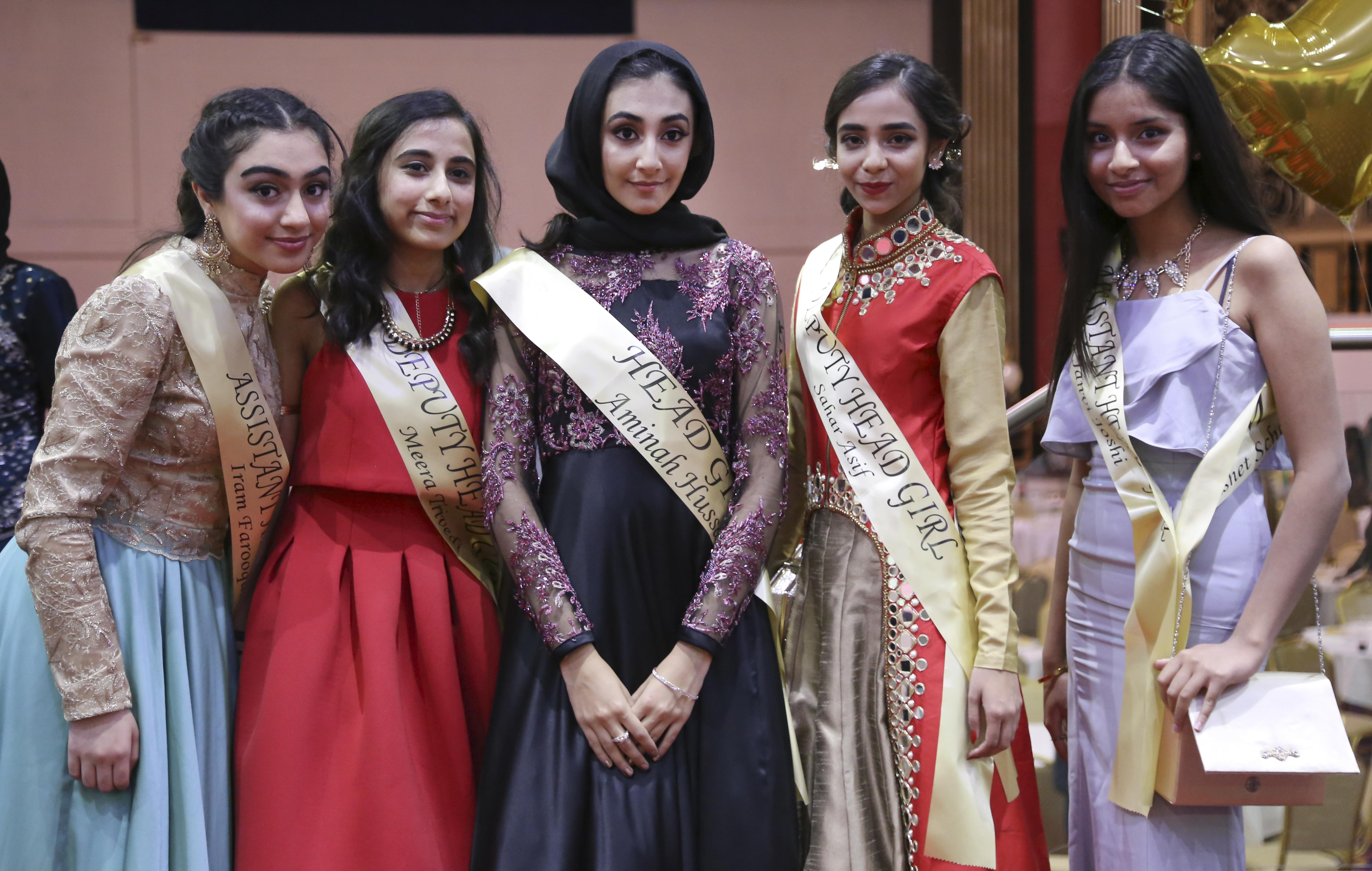 Iram Farooqui 11P, Meera Trivedi 11N, Aminah Hussan 11P, Sahar Asif 11N and Janvi Joshi 11P 2-edit